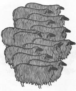Гніздовський Я. Стадо овець. 1964. Дереворіз. Борщівський обласний краєзнавчий музей.