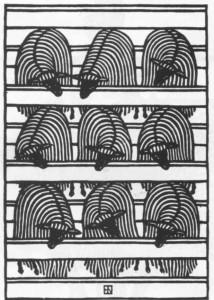 Гніздовський Я. Вівці в кошарі. 1978. Дереворіз. Тернопільський обласний художній музей